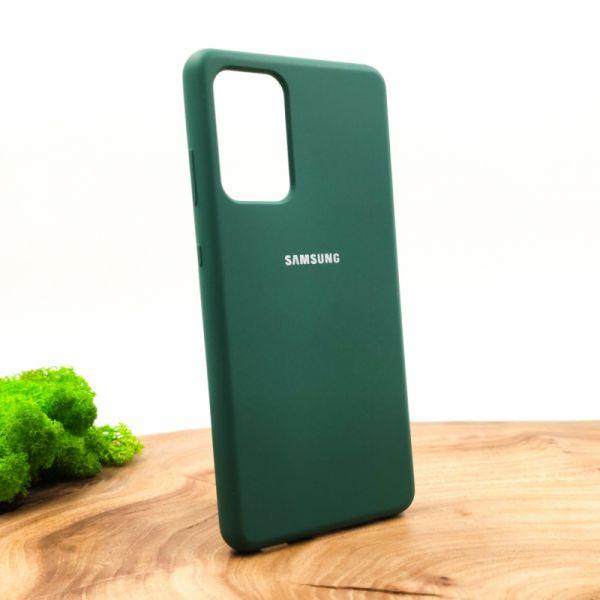 Оригинальный матовый чехол-накладка Silicone Case для SAMSUNG A72 Blue Green